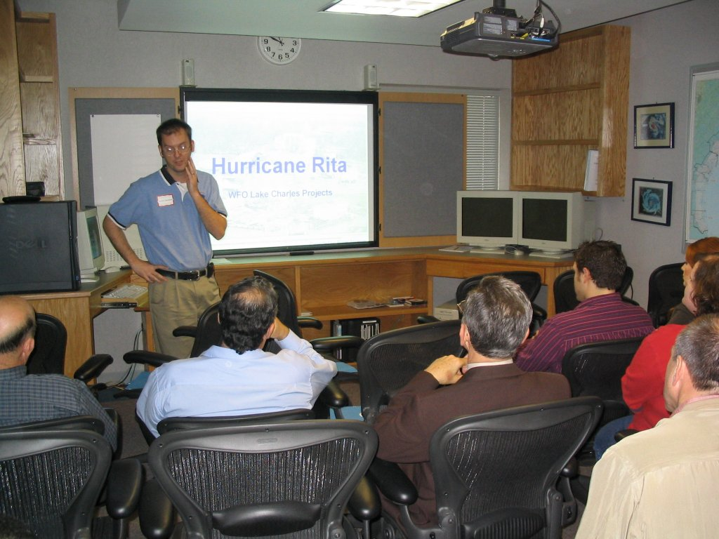 WCM Roger Erickson giving an overview of Hurricane Rita