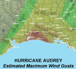 Audrey Wind Gust Map image