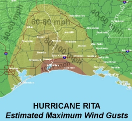 Rita Wind Gust Map image
