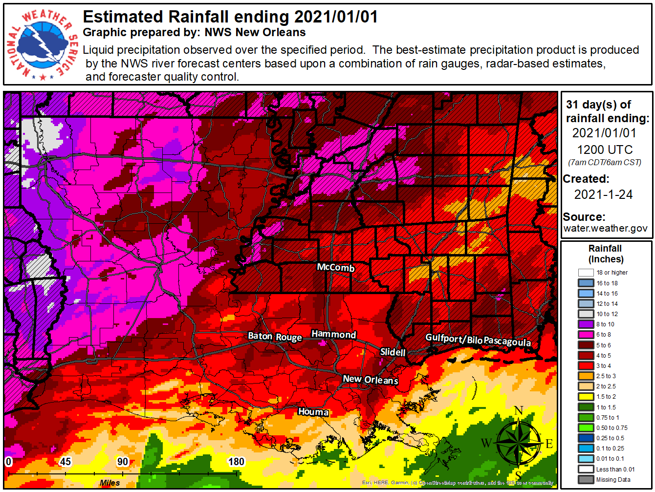 State monthly rainfall