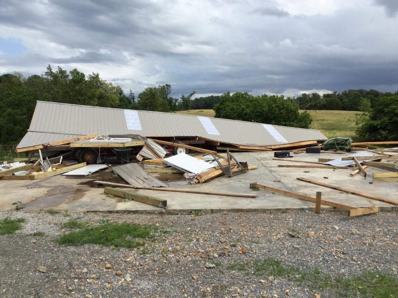 Tornado damage in Allen County, KY on June 21, 2019