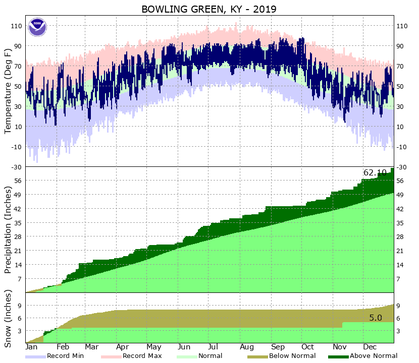 2019 temperatures and precipitation at Bowling Green