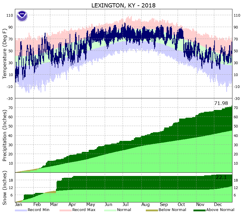 2018 temperatures and precipitation at Lexington
