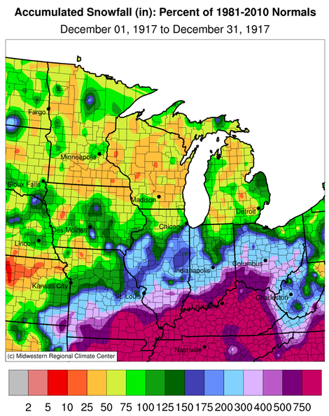 Snowfall Percent of Normal, Midwest