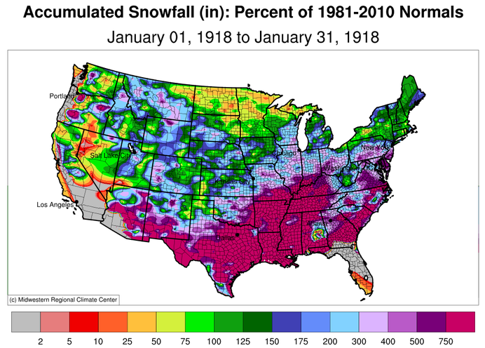 Snowfall Percent of Normal, USA