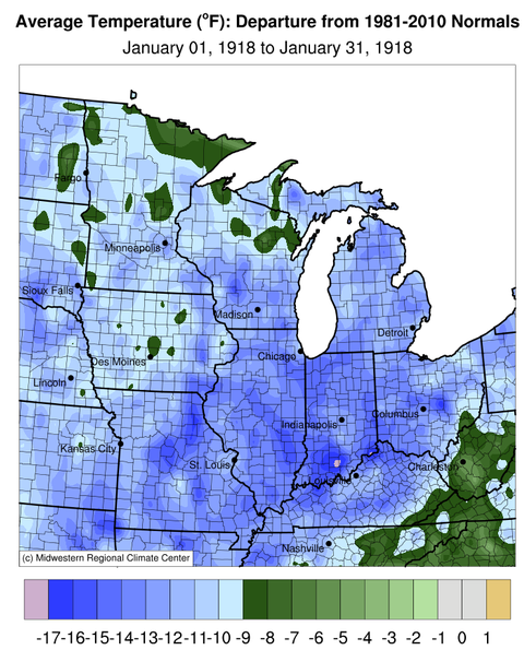 Temperature Departure from Normal, Midwest