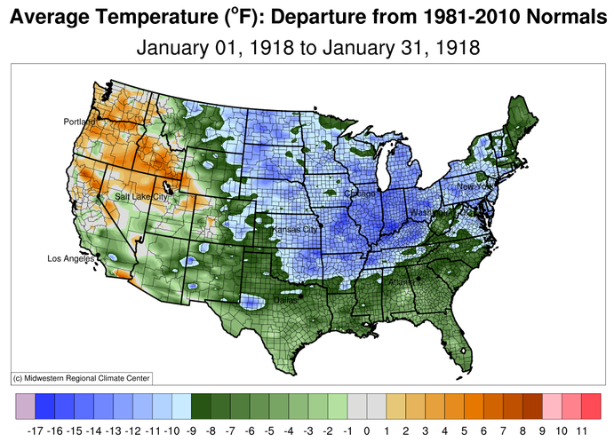 Temperature Departure from Normal, USA