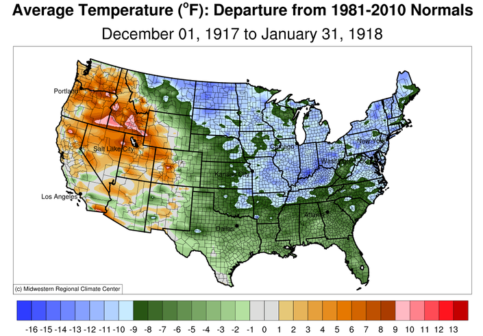 Brutal Winter Weather Of December And January - Average winter temperature us map