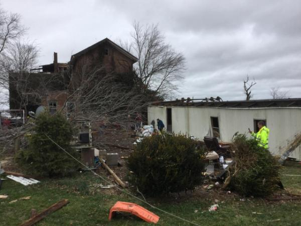 Storm damage in Madison County, Kentucky on January 11, 2020