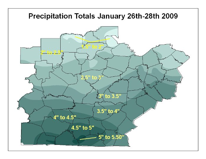 Precipitation January 26-28, 2009