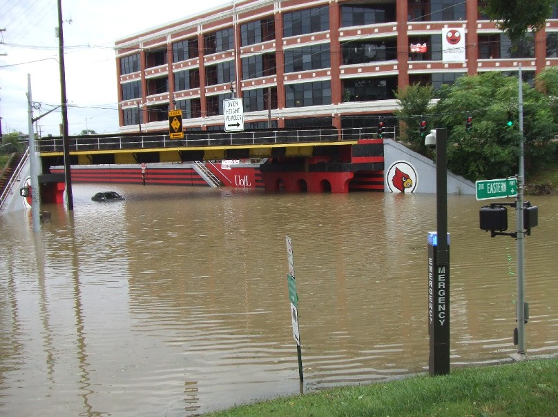 Disastrous flooding in central Louisville