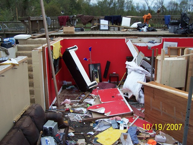 House swept off its basement by an F3 tornado in Clark County, IN October 18, 2007