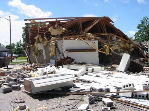 Tornado damage in Jeffersonville, Indiana