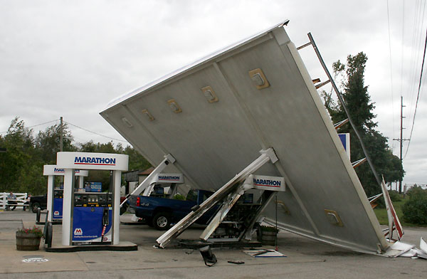 Gas Station Damaged