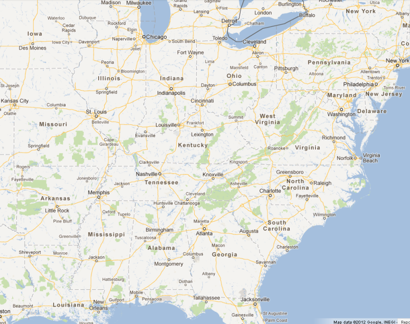 Regional travel map