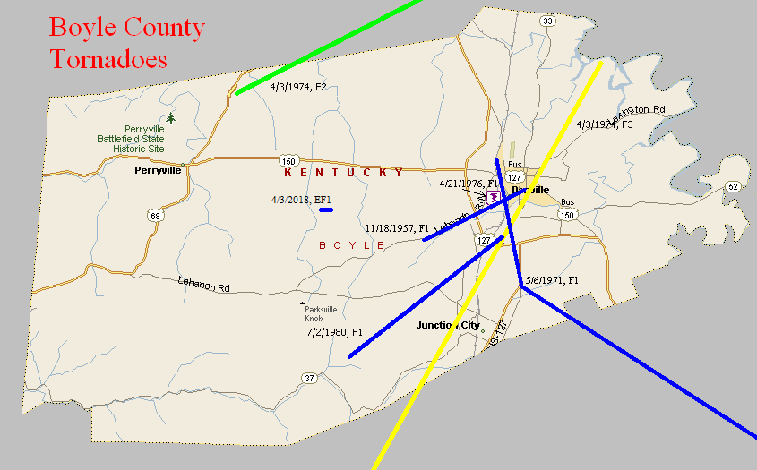 Tornado Climatology of Boyle County on pulaski county ky map, city of perryville ky, perryville ky map, city of champaign il map, floyd ky map, madison county ky map, grayson ky map, junction city ky map, scott county ky map, campbell county ky map, richmond ky map, henry county ky map, berea ky map, danville illinois map, waynesburg ky map, warren county ky map, tazewell ky map, cumberland ky map, city of danville va map, garrard county ky map,