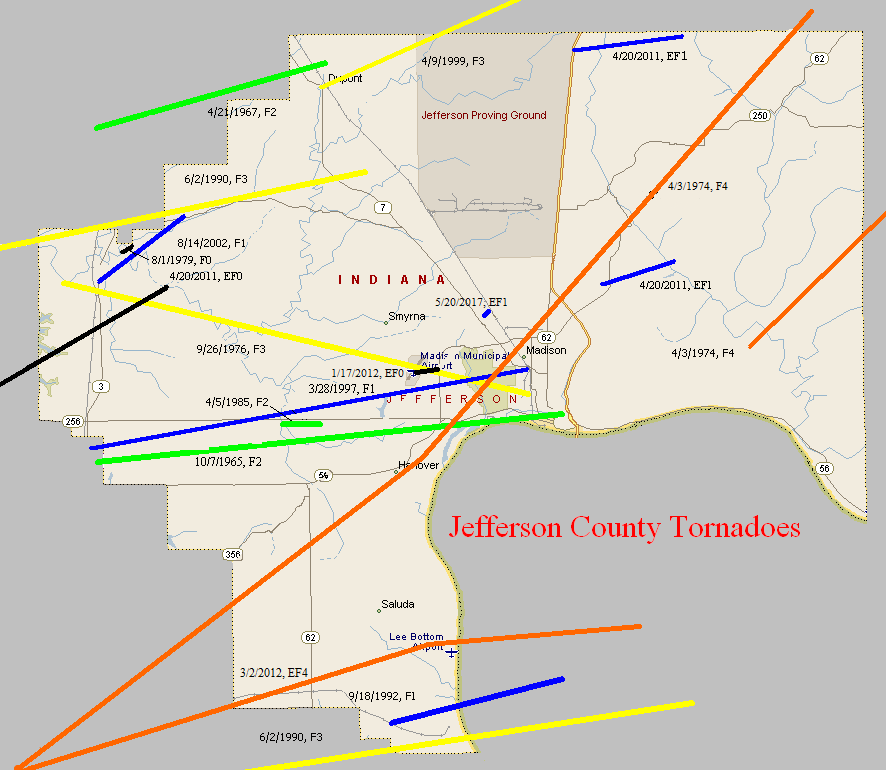 Tornado Climatology of Jefferson County, Indiana