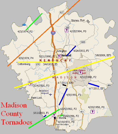 Tornado Climatology of Madison County on map showing kentucky counties, map of kentucky counties, kentucky radon zone map, kentucky on map, kentucky speedway sparta ky map, top deer hunting ohio counties, kentucky product map printable, kentucky paducah ky, arizona maps with cities and counties, map of missouri counties, kentucky map lexington ky, mountain parkway kentucky map counties, kentucky dry counties map, kentucky precipitation map, kentucky zip code map, kentucky counties maps printable, kentucky country, kentucky road map, kentucky university campus map, kentucky population by race,