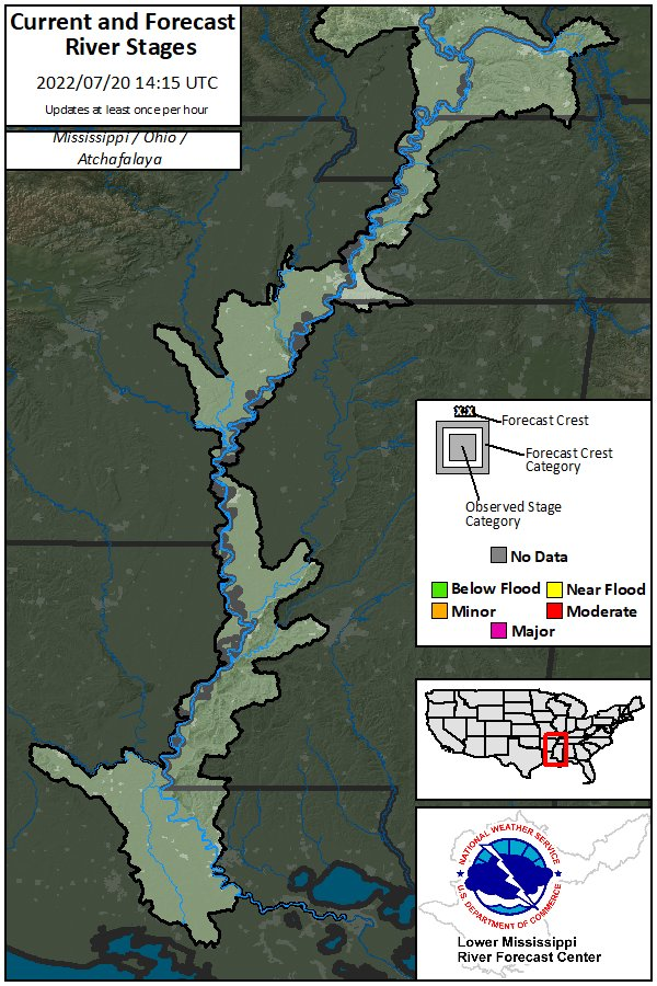 River status map. Look below for a table of river forecast and observation data.