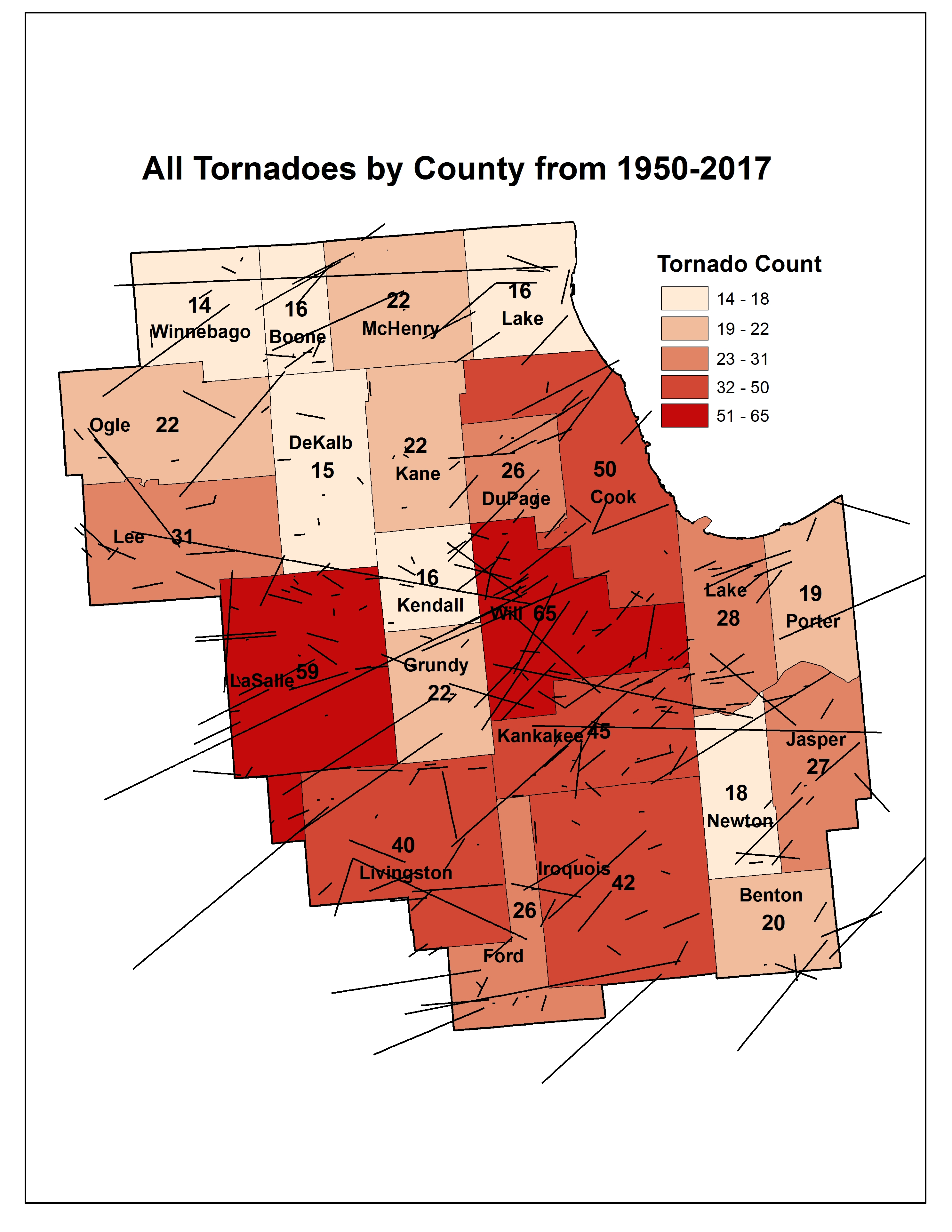 Tornado Counts by County