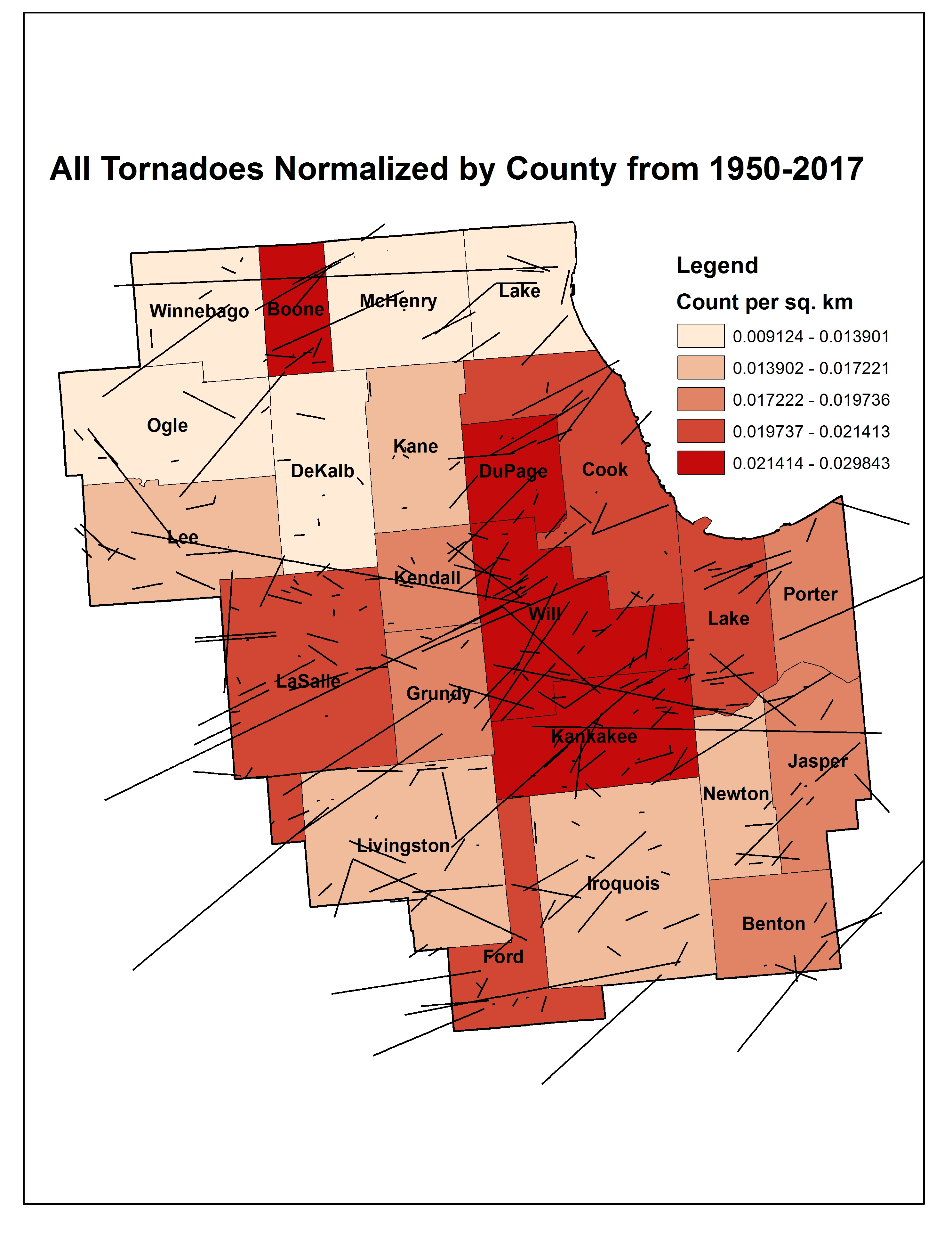 Tornado Normalized by County
