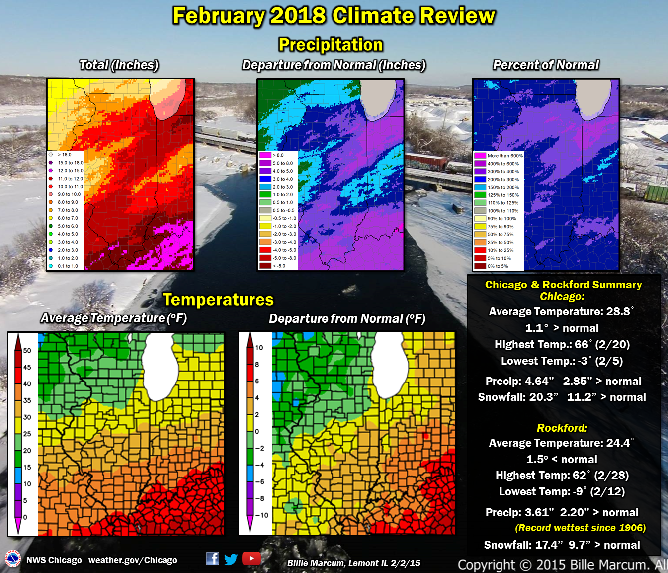 February 2018 Temperatures Were Near Normal Active Weather Resulted In Well Above Precipitation Rockford Observed Its Wettest On Record
