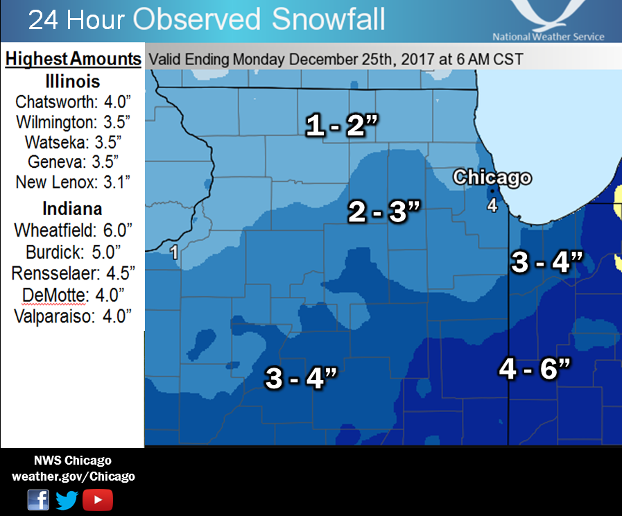 24 hour snowfall totals ending at 6 am christmas day 24 hour snowfall totals ending at 6 am