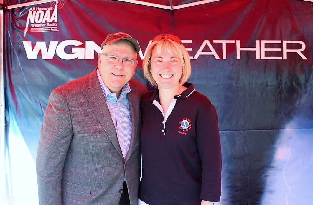 Amy with Tom Skilling at a weather radio event