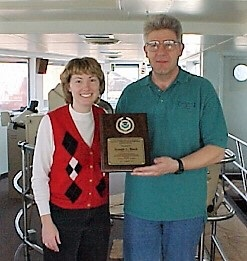 Amy presenting a Voluntary Ship Observer award on the Joseph L Block