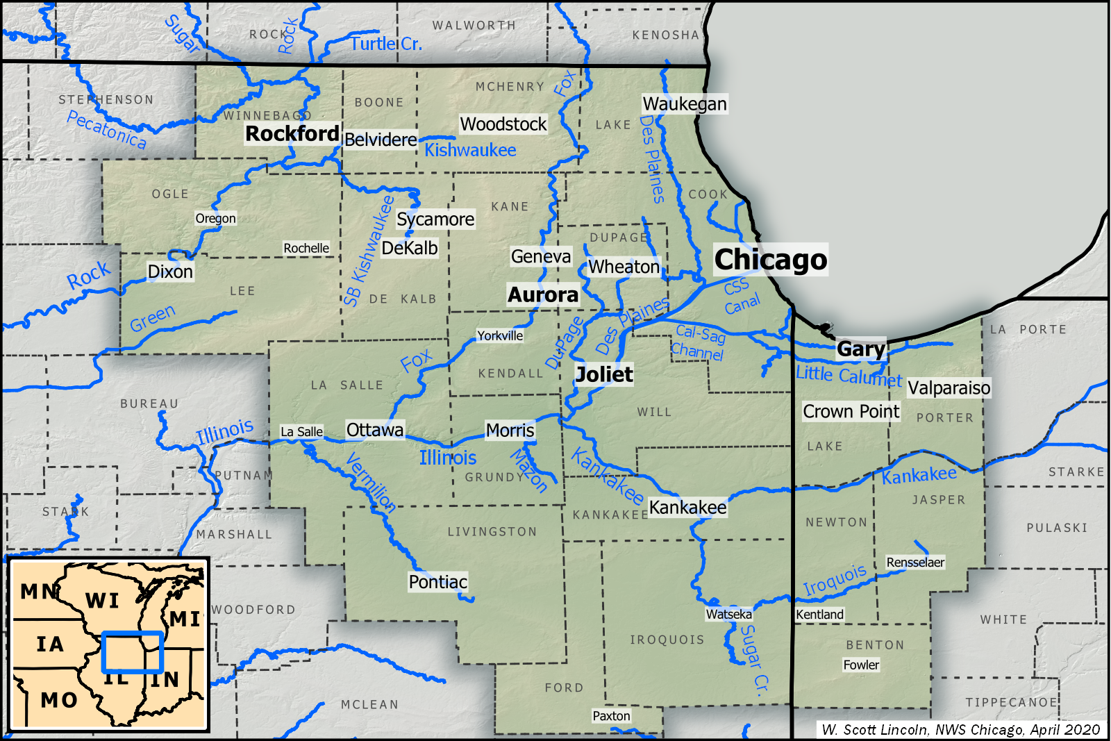 A map showing counties and rivers covered by the NWS Chicago office. This includes the counties of Winnebago, Boone, McHenry, Lake, Ogle, Lee, De Kalb, Kane, DuPage, Cook, La Salle, Kendall, Grundy, Will, Livingston, Kankakee, Ford, and Iroquois in Illinois, Lake, Porter, Newton, Jasper, and Benton in Indiana.