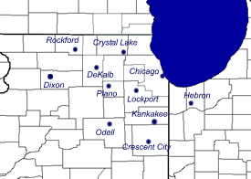 image of transmitters for Northern Illinois and Northwest Indiana