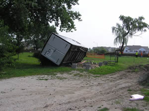 Trailer tipped over from tornado in Bolingbrook