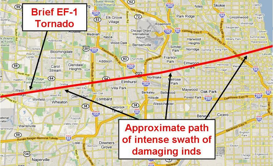 big map of the damage path from dupage/cook counties storms