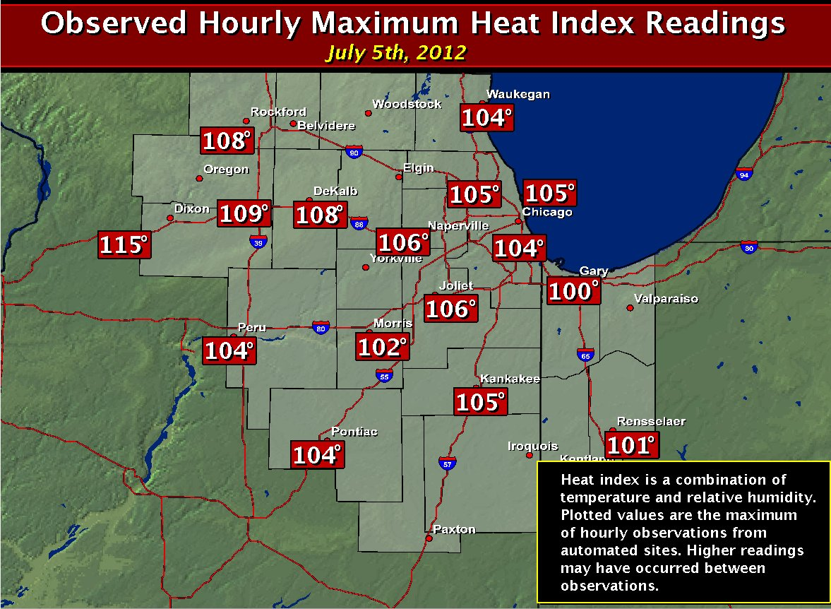 Max Heat Indices: July 5th