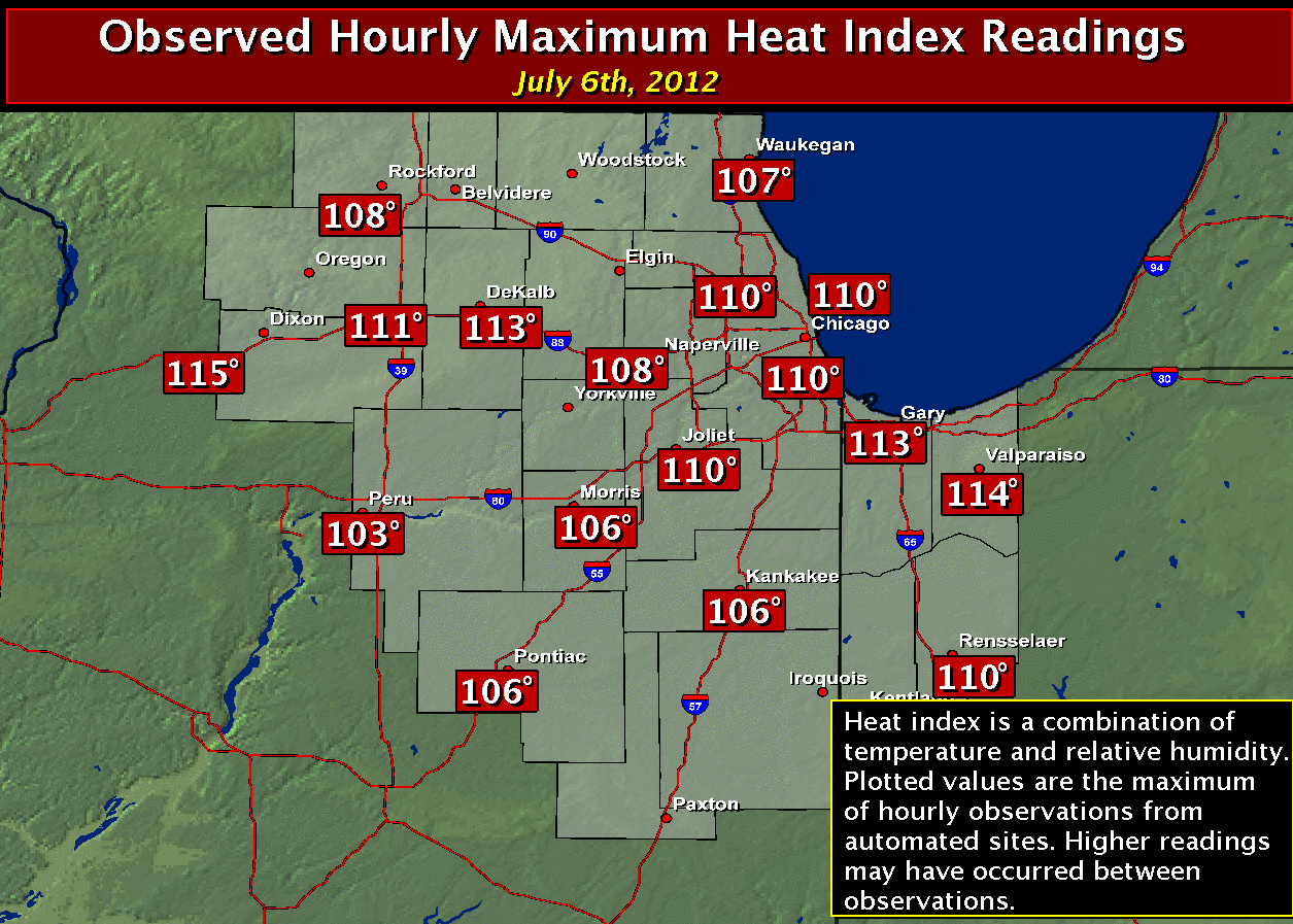 Max Heat Indices: July 4th