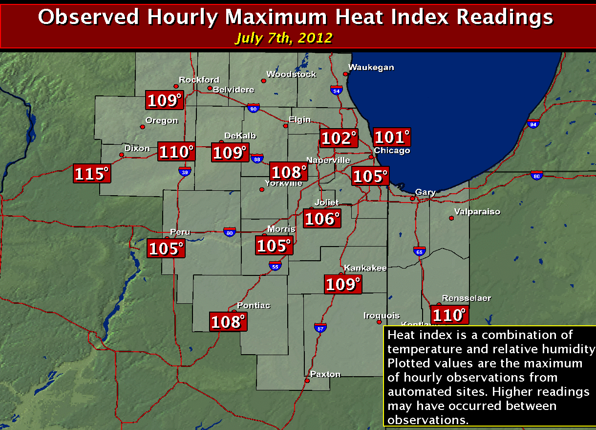 Max Heat Indices: July 7th