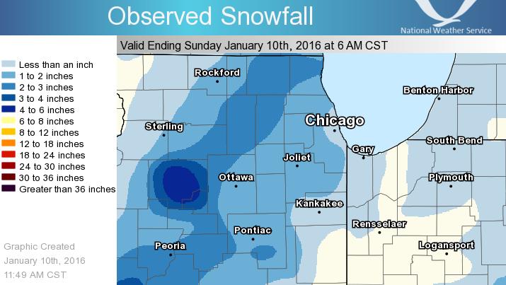 24 Hour Snowfall Ending at 6 am January 10, 2016