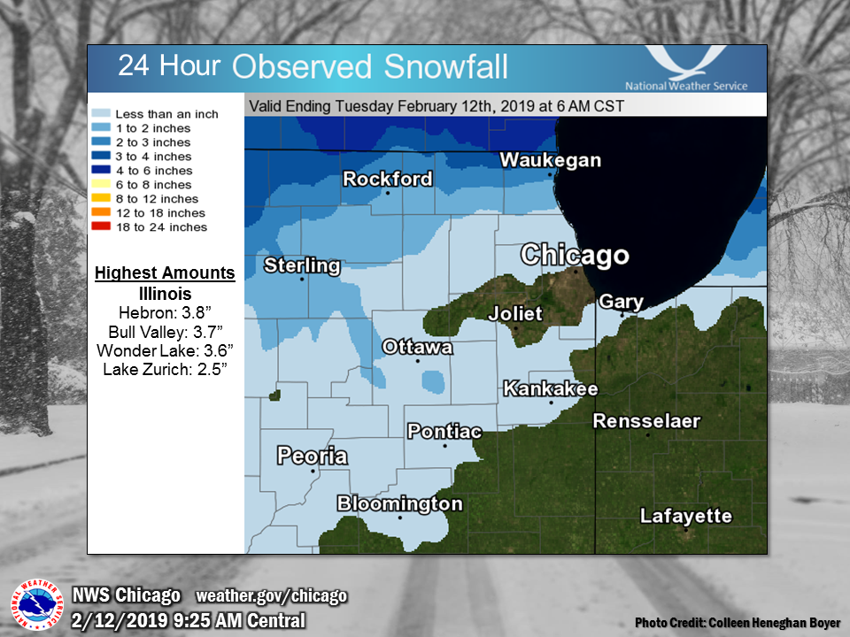 Snowfall Map for past 24 hours ending at 6 am February 12