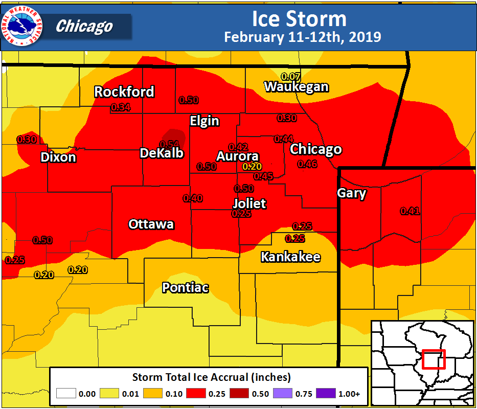 Ice Storm Map for February 11-12th, 2019