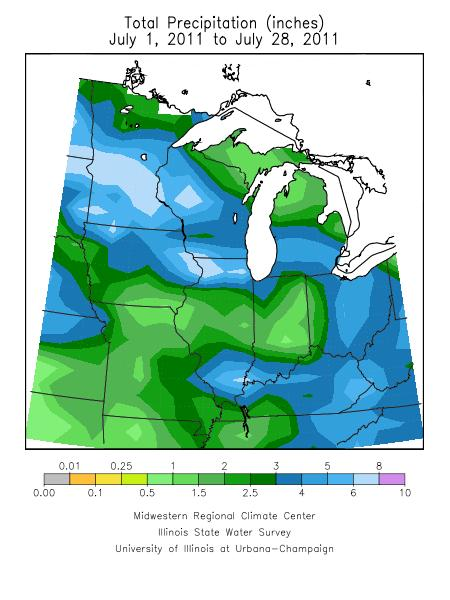 Rainfall totals from July 1st to July 28th, 2011