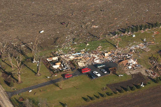House destroyed by EF3 tornado northeast of Poplar Grove.