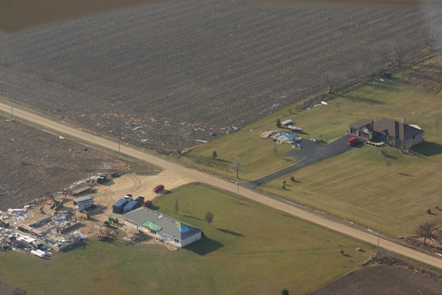 Garages and machine shed destroyed by tornado