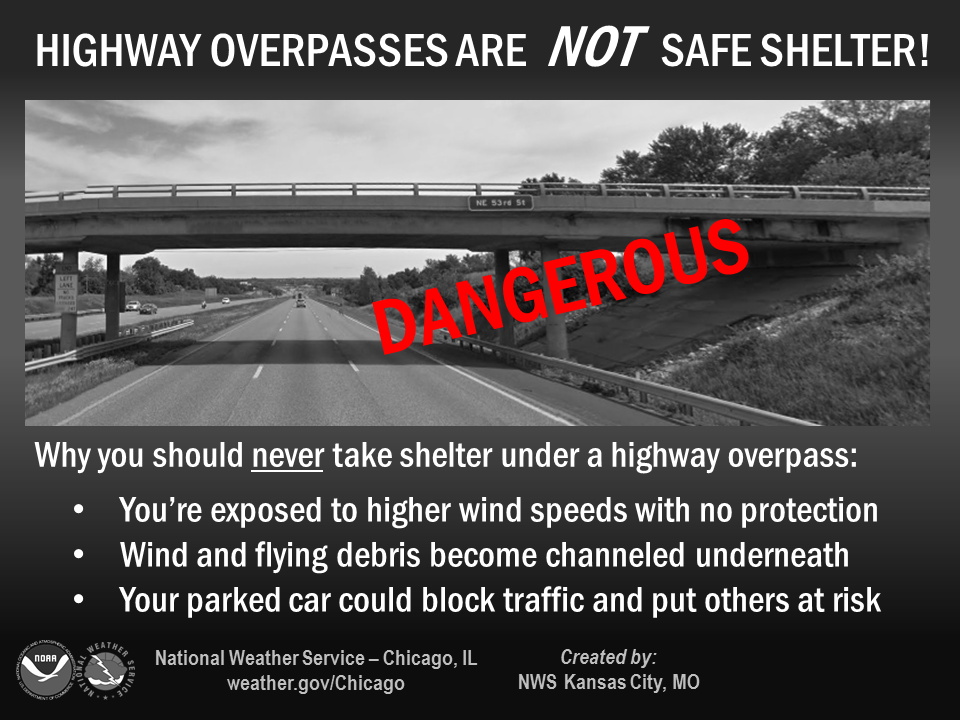 Highway overpasses are NOT safe shelter!