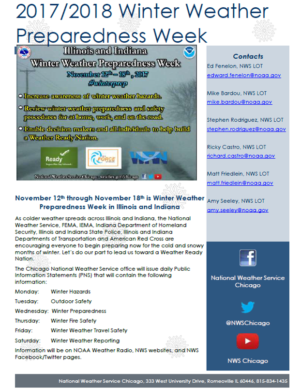 Winter Preparedness Week Info