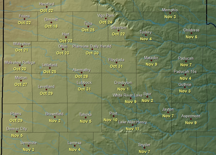 Map displaying the average first freeze dates for various locations across the South Plains, Rolling Plains and southern Texas Panhandle.