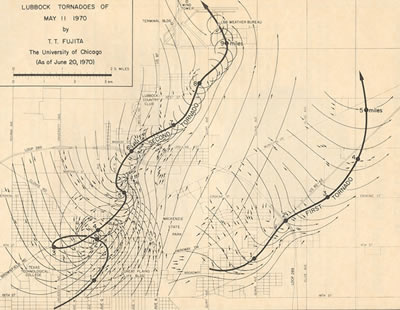 Map of two tornadoes that tracked across Lubbock on May 11, 1970. Click on the map for a larger view.