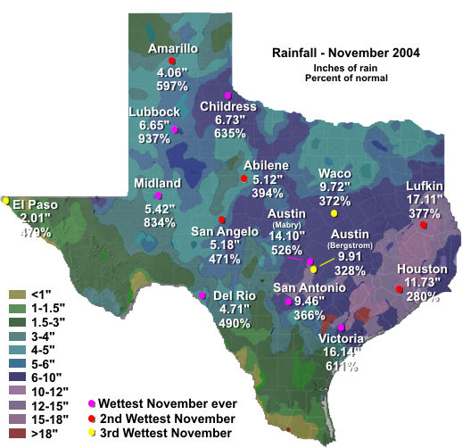 November 2004 rainfall for Texas