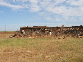 Damage from the second of two tornadoes to impact Ralls, TX. Click on the image for a larger view.