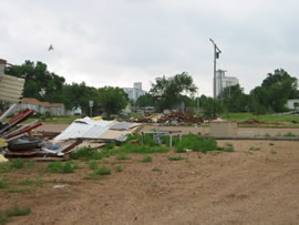 Image of damage from June 9, 2005 storm. Photograph taken by Brian LaMarre, Warning Coordination Meteorologist, WFO Lubbock, TX.