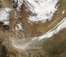Satellite image of dust storm